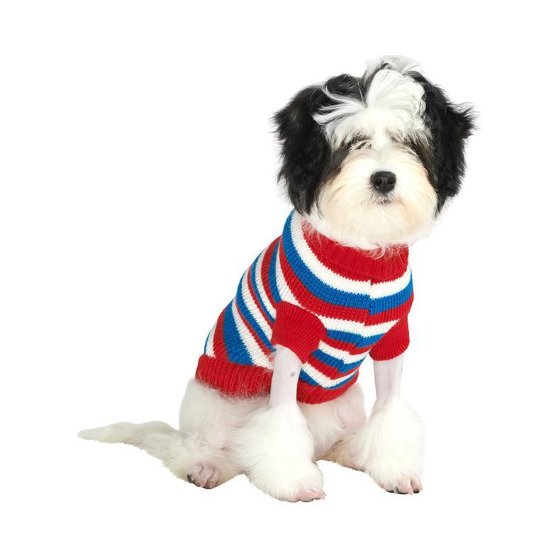 Stickad Hundtröja - Red, White & Blue Striped