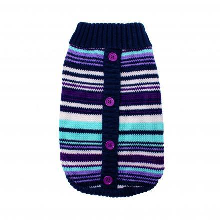 Stickad Hundtröja - Purple Striped