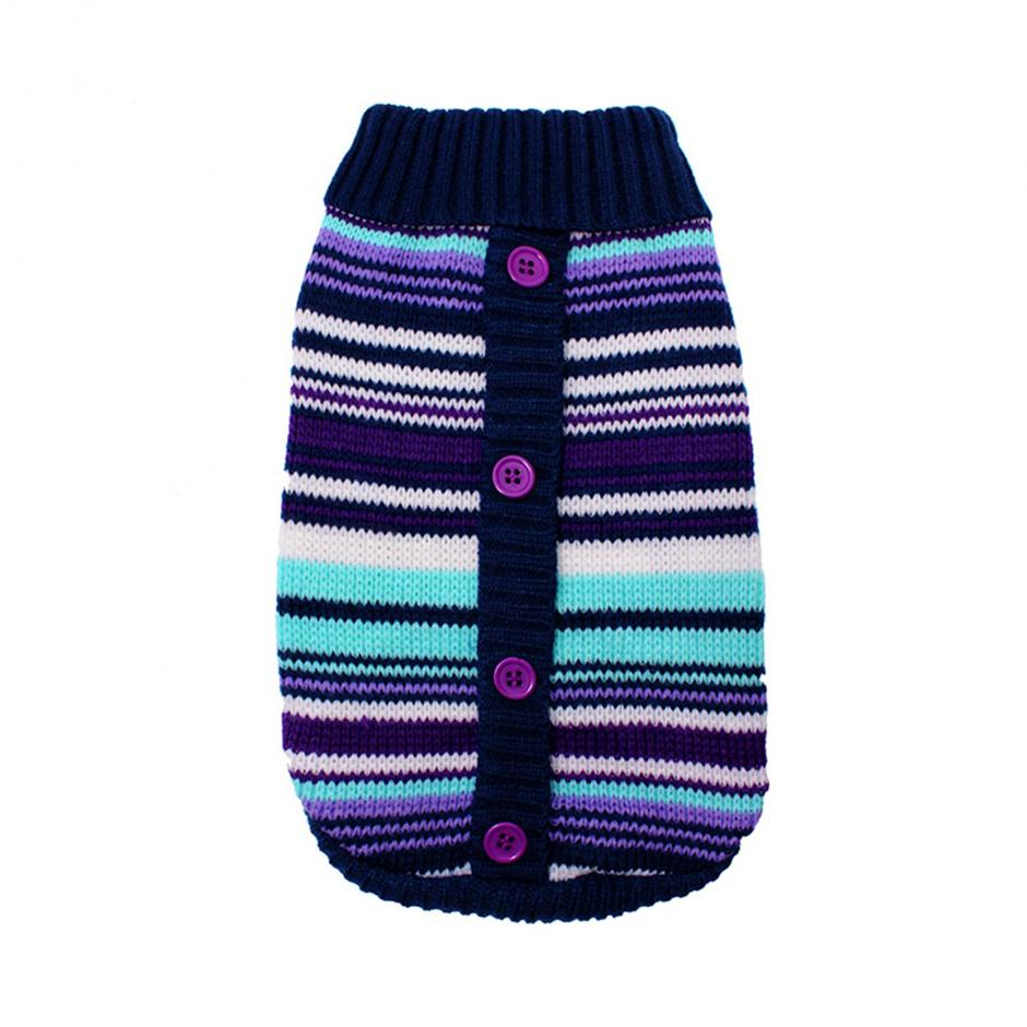 Stickad Hundtröja - Purple Striped
