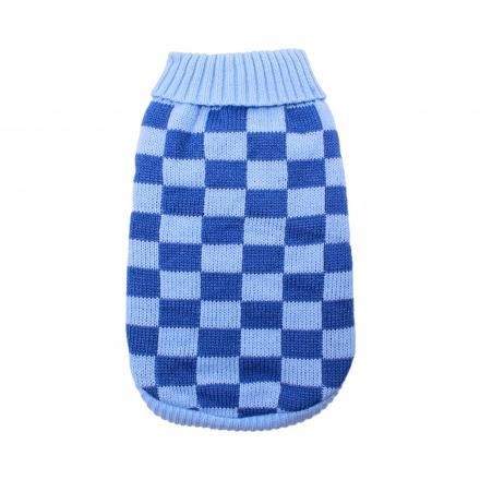 Stickad Hundtröja - Checkerboard Blue