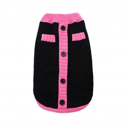 Stickad Hundtröja - Black & Pink Mod