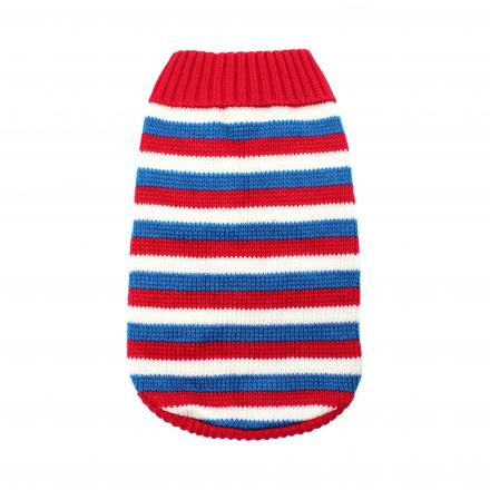 Stickad Hundtröja - Red, White & Blue Striped