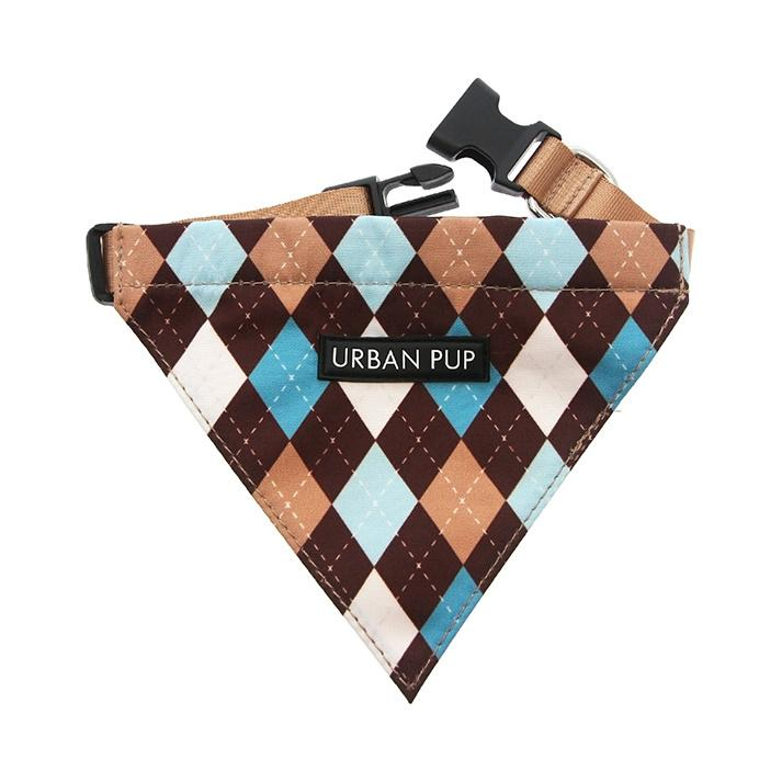Urban Pup Bandana - Brown & Blue Argyle