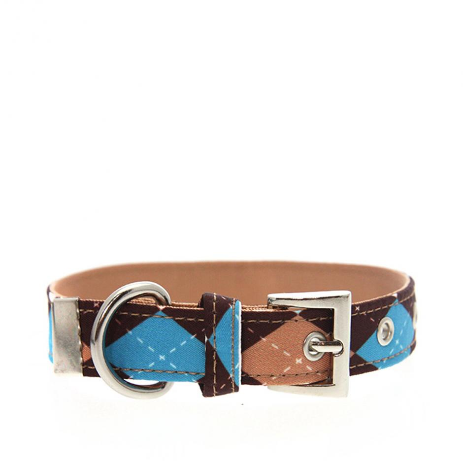 Urban Pup Halsband - Brown & Blue Argyle