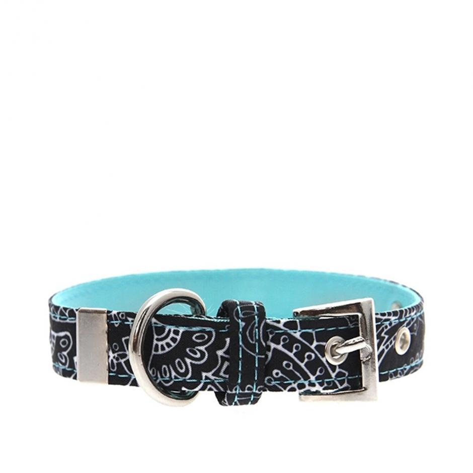 Urban Pup Halsband - Black & Blue Paisley