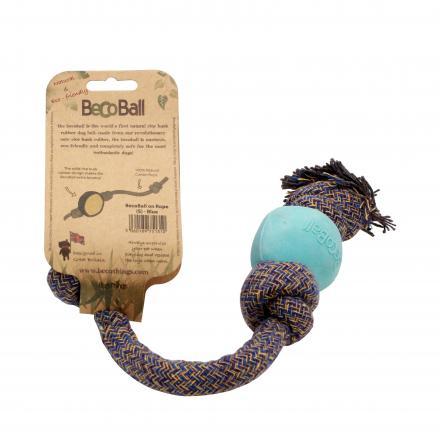 Beco Ball On A Rope Hundleksak - Blå