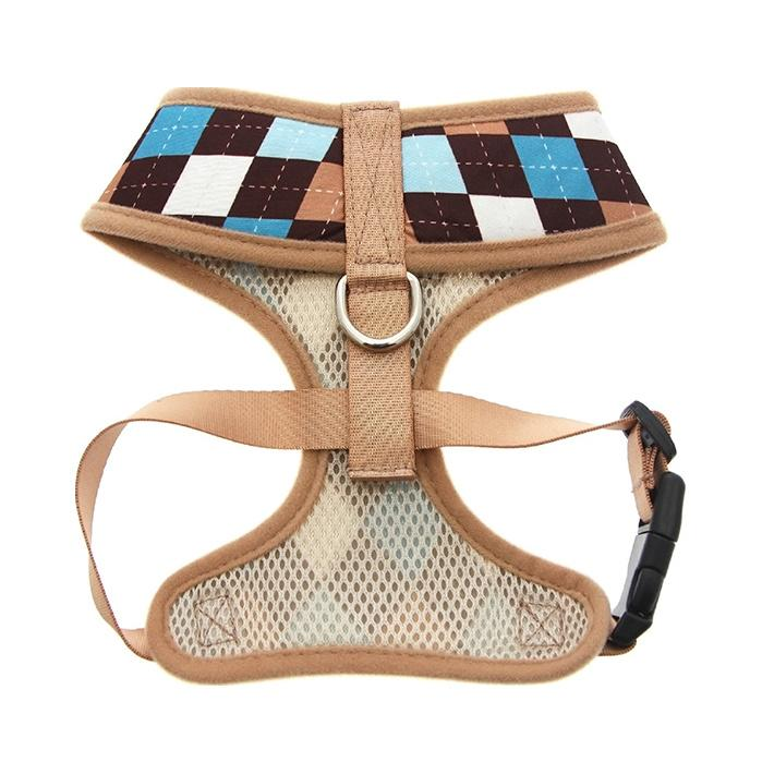 Urban Pup Harness - Brown & Blue Argyle