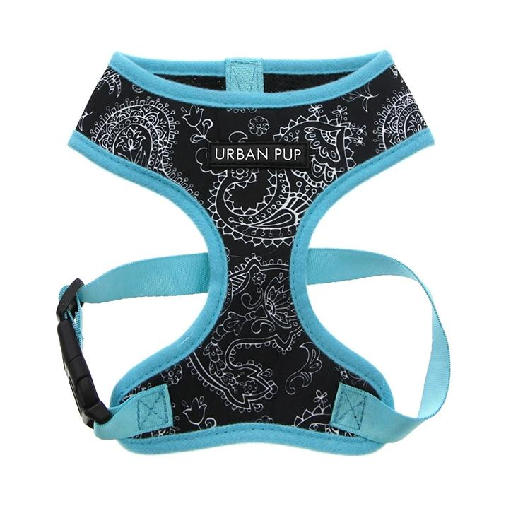 Urban Pup Harness - Black & Blue Paisley