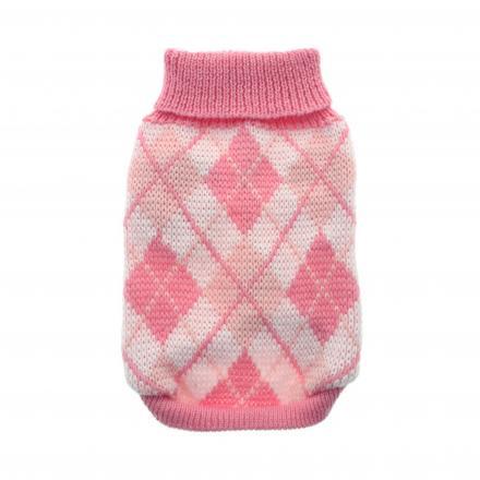 Stickad Hundtröja - Pink Argyle
